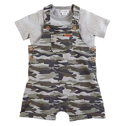 Mud Pie Baby Boy's Camo Short Overalls and Shirt (Infant) Green 6-9 Months