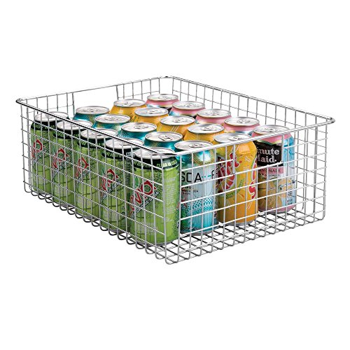 mDesign Farmhouse Decor Metal Wire Food Organizer Storage Bin Baskets with Handles for Kitchen Cabinets, Pantry, Bathroom, Laundry Room, Closets, Garage - Chrome