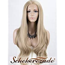 Blonde Lace Front Wigs for Women Long Wavy Synthetic Wigs Scheherezade Glueless Lace Wig for Christmas Half Hand Tied 24 Inches