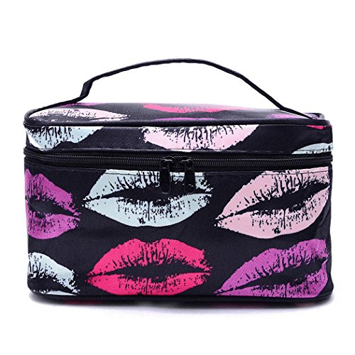 Adidome mirror traveling handle floral men designer double plasti Cosmetic Bags