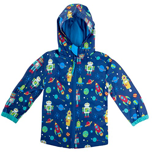 Stephen Joseph Boys' All Over Print Rain Coat, Robot, 7/8