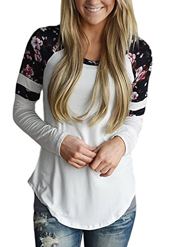 Alvaq Women Long Sleeve Floral Varsity Stripe Tops