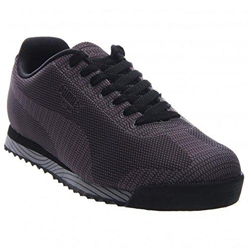 Puma Mens Klassiska Sneakers Roma Vävda Print Mörkgrå