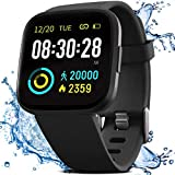 FITVII Smart Watch, Fitness Tracker with IP68 Waterproof Swimming Touch Screen Watches, Heart Rate Monitor with GPS Running Pedometer Step Counter Sleep Tracker for Women Men with iPhone & Android