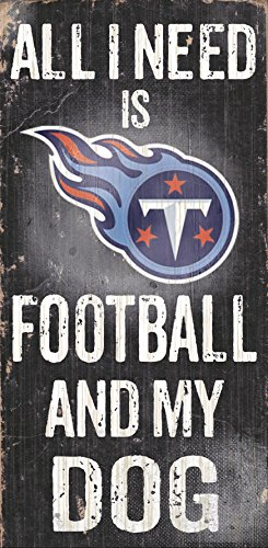 (Tennessee Titans Wood Sign - Football and Dog)