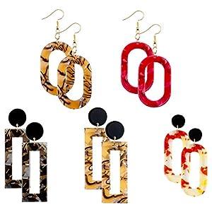 Cosweet 5 Pairs Lightweight Mottled Acrylic Drop Earrings- Resin Bohemian Statement Hoop Earrings Set for Women Girls Fashion Jewelry