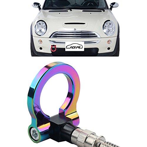 JGR Neo Chrome Front Bumper Tow Hook bolt on Aluminum Sport Racing Accessories Tow Eye Hook Hinge For Mini Cooper R50 R51 R52 R53 R55 R56 R57 R58 R59 1st Gen & 2ed Gen