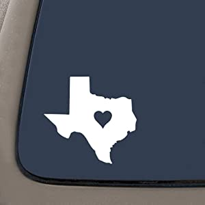 "NI164 Texas Love State Sticker Decal Notebook Car Laptop 5.5"" (White)"