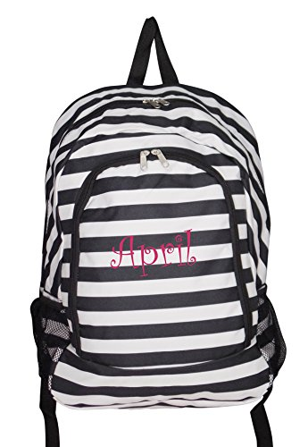 High Fashion Print Medium Sized Backpack *Custom Personalization Available (Personalized Black and White Stripe) (Personalized Backpacks compare prices)