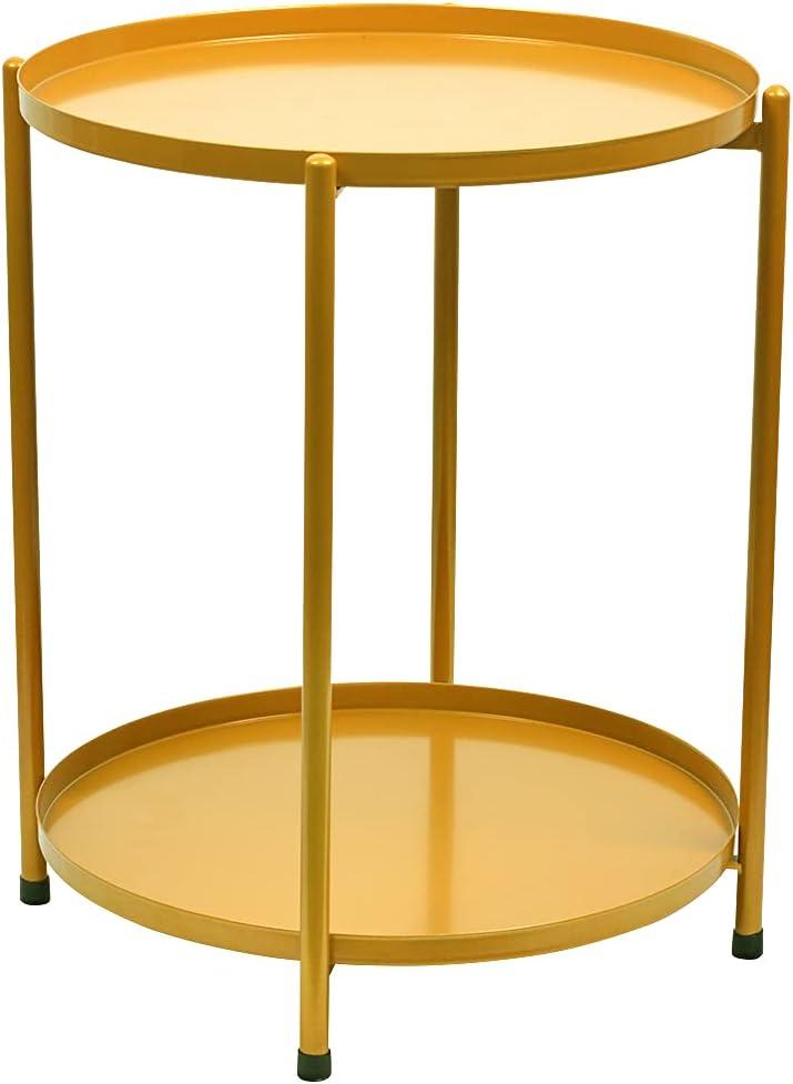 Mesita metal dorado