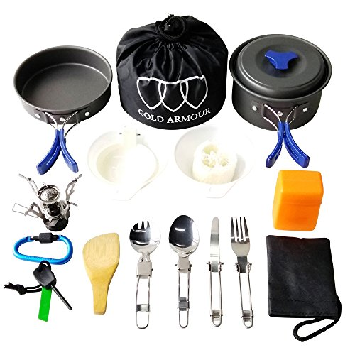 Gold Armour 17Pcs Camping Cookware Mess Kit Backpacking Gear & Hiking Outdoors Bug Out Bag Cooking Equipment Cookset | Lightweight, Compact, Durable Pot Pan Bowls - Camping Cooking Equipment