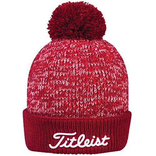 Titleist Golf Pom Pom Winter Beanie Stocking Cap, (Red), One Size