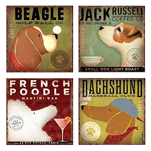 (CSKB Beware of Dog Sign Beagle & Jack Russell & French Poodle & Dachshund Vintage Signs Metal 30x30cm)