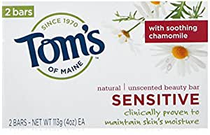 Tom's of Maine Sensitive Natural Beauty Bar Soap, Unscented with Chamomile, 4 Ounce bar, Pack of 2