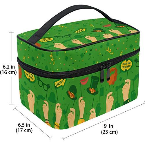 Travel Cosmetic Bag Leprechaun Hat Banner Lucky Clovers Shamrocks Makeup Train Case Carrying Portable Zip Travel Cosmetic Brush Bag Storage Organizer Large for Girls Women