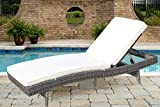 Do4U Adjustable Patio Outdoor Furniture Rattan Wicker Chaise Lounge Chair Sofa Couch Bed with Cushion (7557-DRGY-1 Sets) Review