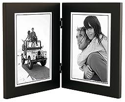 Malden International Designs Linear Classic Wood Picture Frame, Double Vertical, 2-5x7, Black