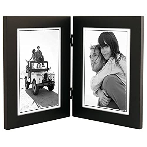 malden international designs linear classic wood picture frame double vertical 2 5x7 black - Dual Picture Frame
