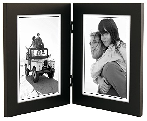 Malden International Designs Linear Classic Wood Picture Frame, Double Vertical, 2-5x7, Black