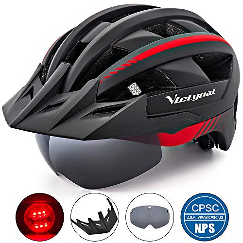 VICTGOAL Bike Helmet for Men Women with Led Light Detachable Magnetic Goggles Removable Sun Visor Mountain & Road Bicycle Helmets Adjustable Size Adult Cycling Helmets (Black Red)