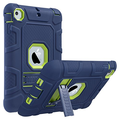 iPad Mini Case,iPad Mini 2 Case,iPad Mini 3 Case,iPad mini Retina Case,ULAK Three Layer Heavy Duty Shockproof Protective Case for iPad Mini,iPad Mini 2,iPad Mini 3 with Kickstand (Blue+Lime Green)
