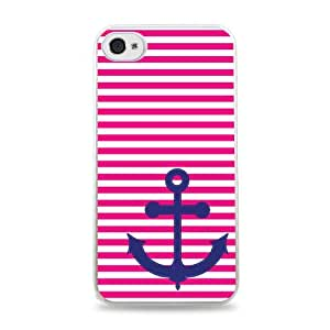 Pink Stripes With Blue Anchor White Silicone Case for iPhone 6 (4.7 inch) i6