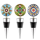 Floral Wine and Beverage Bottle Stopper | Set of 3 Wine Savers | Air-Tight Grip | Prolong Beverage Freshness | Unique Gift for Christmas, Birthday, Wedding, Holiday Party, New Year 2019