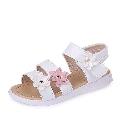 Sandales Cuir Qzbaoshu Avec Fleurs Trois Fille Chaussures Pour Peu LMjUVSzpqG