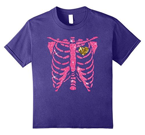 Kids Skeleton Bling With Golden Heart T-shirt Halloween Costume 10 (Best Couples Halloween Costume Ideas 2017)