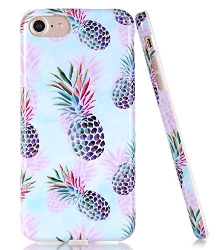 BAISRKE Phantom Pineapple Design Slim Black Bumper TPU Soft Rubber Silicone Cover Phone Case for iPhone 7 (2016) / iPhone 8 (2017) [4.7 inch]