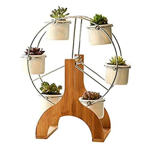 Flower Planter Designs - OUTFANDIA Ceramic Ferris Wheel Flower Design Pot Stand 6 Succulent Plant Pot Holder Garden Decor Planter