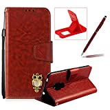 Brown Strap Leather Case for Huawei Mate 20,Wallet Flip Case for Huawei Mate 20,Herzzer Retro Classic 3D Owl Design Solid Color Magnetic Stand Shockproof PU Leather Case with Soft TPU