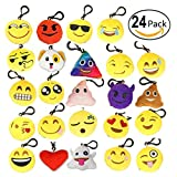 """Emango 24 Pack Emoji Mini Plush Pillows, Keychain Decorations, emoticon pillow, Funny Kids Party Supplies Favors, 2"""" Set of 24 Soft Smiley Face Emoji Key Chains"""