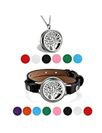 Aroncent Stainless Steel Aromatherapy Perfume Essential Oil Fragrance Diffuser Necklace Locket Pendant Tree of Life Bracelet Leather Band With 8 Washable Pads