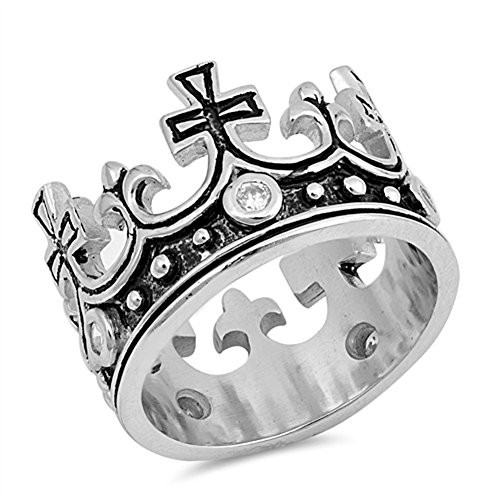 White CZ Antiqued Cross Crown King Ring New .925 Sterling Silver Band Size 5