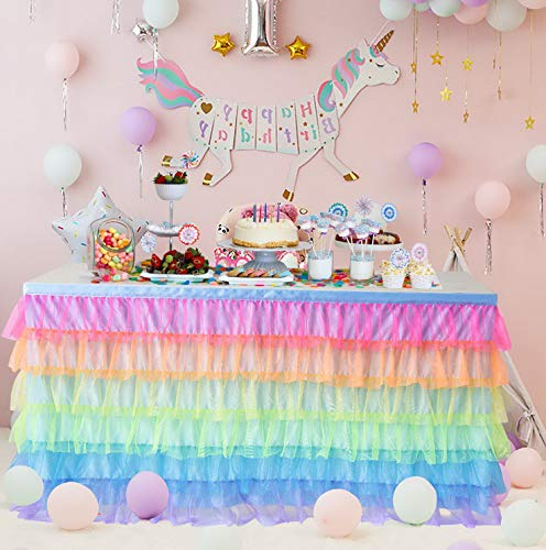 Steelers Ceiling Fan Decor - Mikash HBBMagic 6ft Tutu Ruffle Table Skirt Rainbow Table Skirt for Rectangle or Round Table Skirting Tion for Bridal Shower Wedding Shower Birthday Party Decor | 6 ft | Model WDDNG - 369