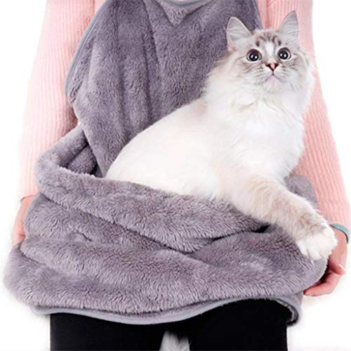 - Cat Holder Carrier Apron Soft Coral Velvet Pet Sleeping Chest Apron with Pocket Hands-Free Bag for Holding Pet Puppies Cats