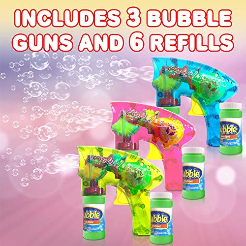ArtCreativity Friction Powered Light Up Bubble Blaster Set (Set of 3)   Includes 3 LED Bubbles Guns & 6 Bottles of Bubble Fluid   Outdoor, Indoor Fun   Gift Idea, Party Activity   No Batteries Needed by ArtCreativity (Image #2)