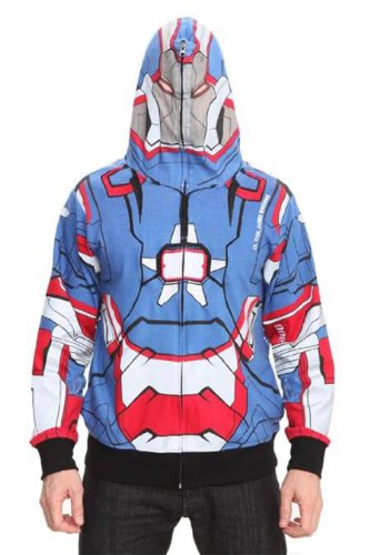 Iron Man Marvel 3 Iron Patriot Full Zip Hoodie Size : Small