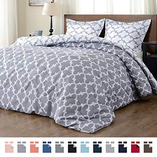 downluxe Lightweight Down Alternative Reversible 3-Piece Comforter Set with 2 Reversible Pillow Shams,Grey, Full/Queen (Sets Comforter)