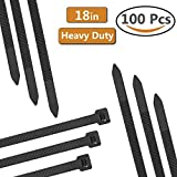 Dekun 18'' Heavy Duty Cable Zip Ties, Ultra Strong 175 LB Tensile Strength Industrial Grade Wire Straps, Black & White (100 Piece)