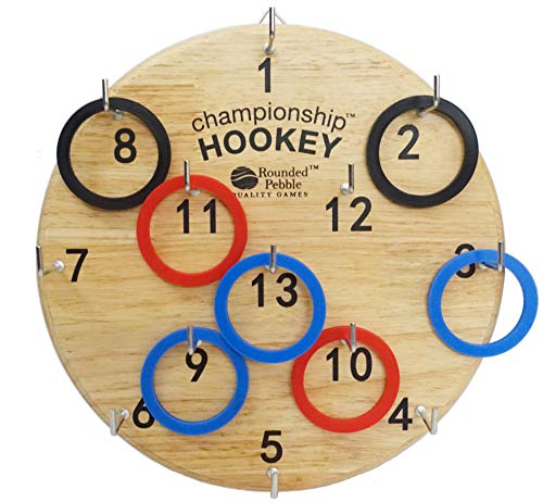 Championship Hookey: Famous hookey ring toss game for kids, teens, friends and family. Premium wood board, strong hooks that stay in position, and 18 rings. Vibrant full color gift box. Perfect gift.