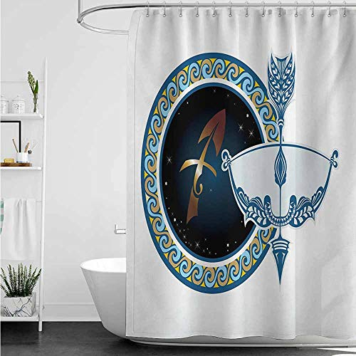(Home Decor Shower Curtain,Zodiac Sagittarius Colorful Composition of Swirls Curves with Vintage Bow and Arrow Motif,goof Proof Shower,W108x72L,Multicolor)