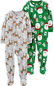 Simple Joys by Carter's unisex-child Toddler 2-Pack Footed Christmas Paj