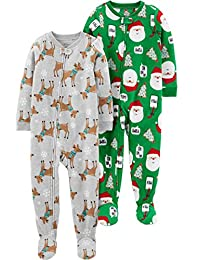 Simple Joys by Carter's unisex-child Toddler 2-Pack Footed Christmas Pajamas