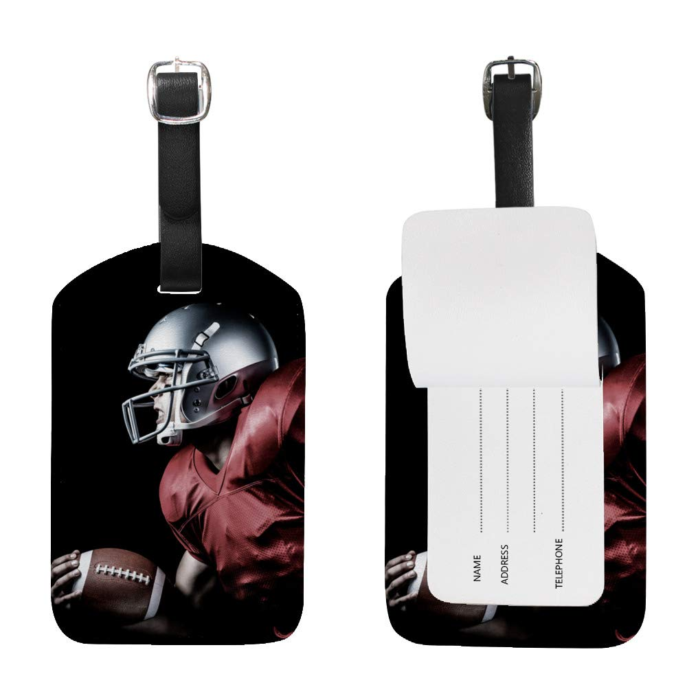 Luggage Tags PU Leather Tags Suitcase Labels Travel Bag With Privacy Cover Aggressive Sportsman Playing American Football Creative Pattern Printing 1pcs