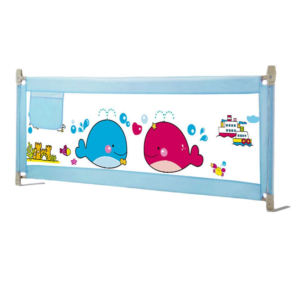 Baby Bedside Rail Guards Bed Fence for Baby Safety Heights Adjustable Baby Bed Guard 59 inch (Blue)