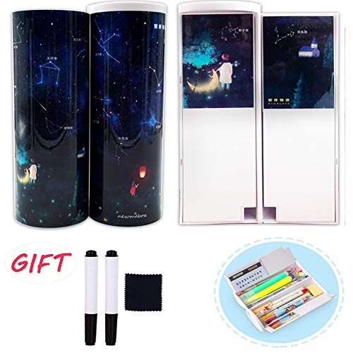 (2019 new) Creative Pencil Case School Stationery Pencil Holder with Solar Calculator Whiteboard Mirror Double Layer Large Capacity Pen Boxes for Boys Girls