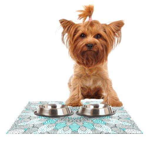 KESS InHouse Monika Strigel Dots and Stripes Mint Feeding Mat for Pet Bowl, 18 by 13-Inch