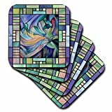 3dRose cst_46761_3 Art Deco Dancer-Dance, Belly Dance, Oriental Dance, Middle Eastern Dance-Ceramic Tile Coasters, Set of 4